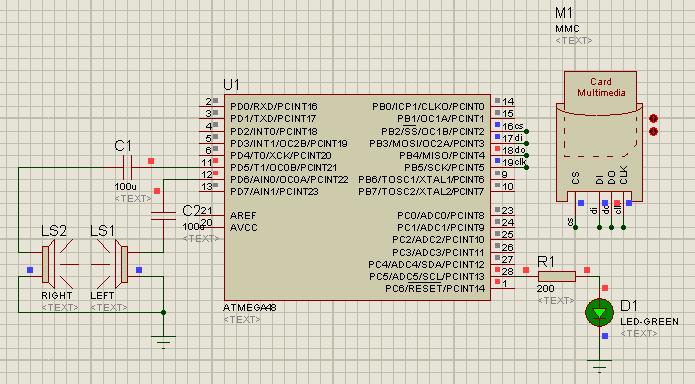 Схема ATmega48 16bit Mono: